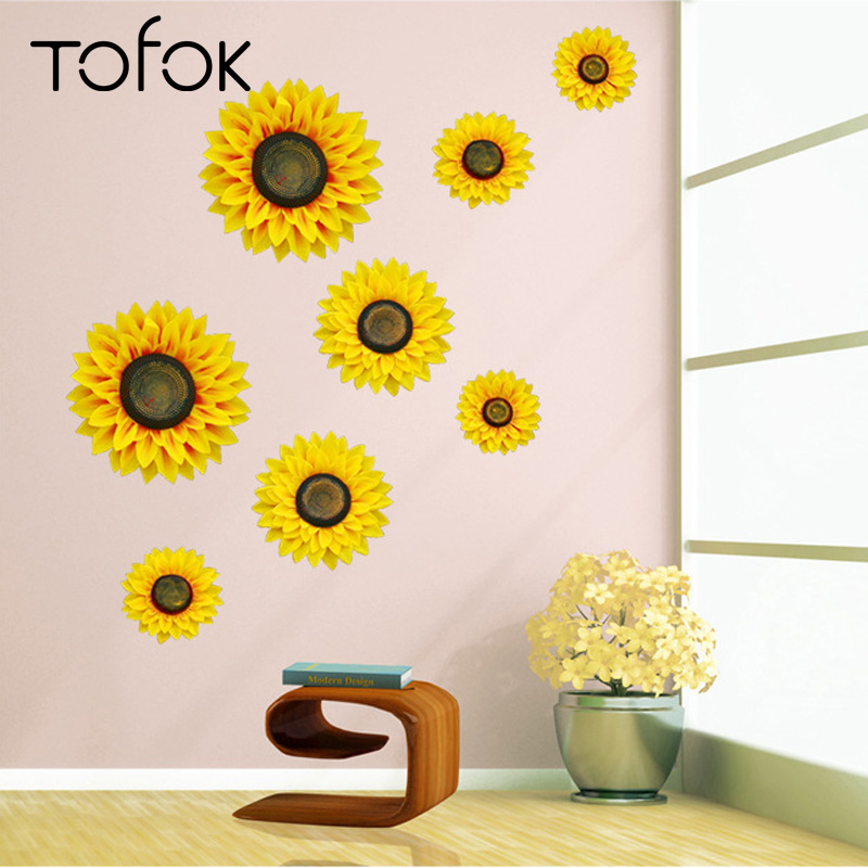 Tofok 3D Sunflower Wall Decoration Imitation Floral Decoration Flower Artwork S/M/L Living Room Bedroom Setting Wall Stickers