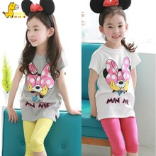 2016 Baby girl Clothing Set short Shirt + Capri pants Kid Clothing Set Mickey Pattern Children Clothing Set lovely Summer Syle