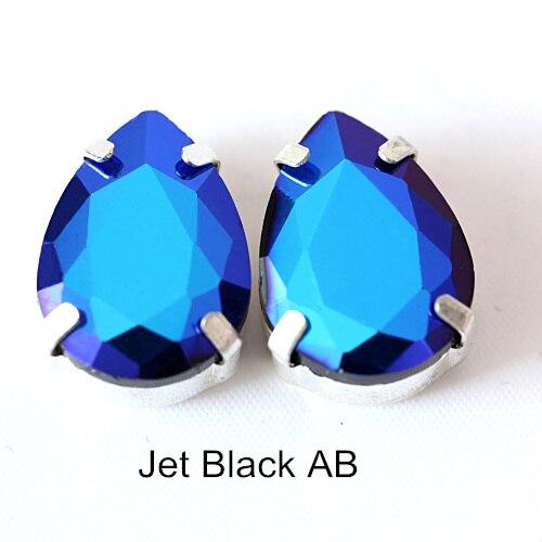 5 размеров красочные стеклянные хрустальные серебряные коготь пришивные стразы с коготь капли воды красные Пришивные коготь стразы для одежды B0403 - Цвет: Jet Black AB