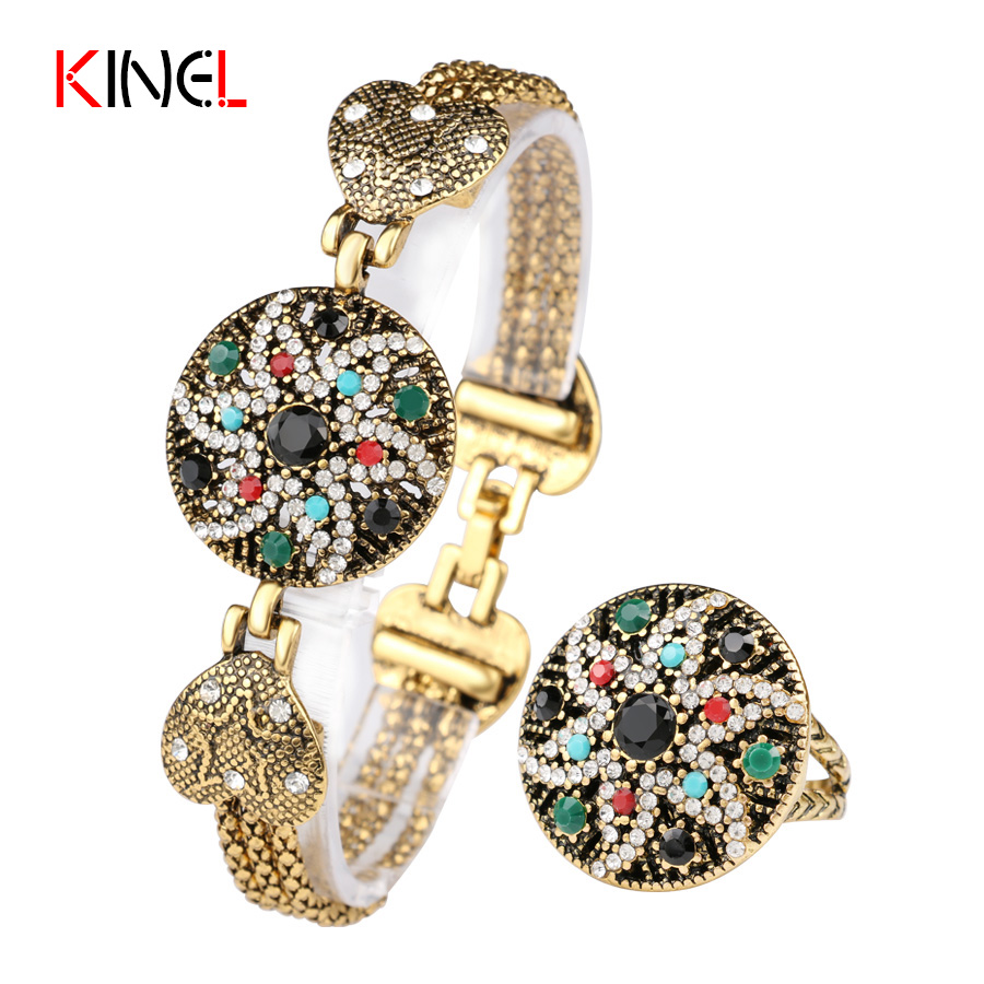 Hesiod Indian Wedding Jewelry Sets Gold Color Full Crystal: NEW Vintage Indian Starfish Wedding Jewelry Set Colorful