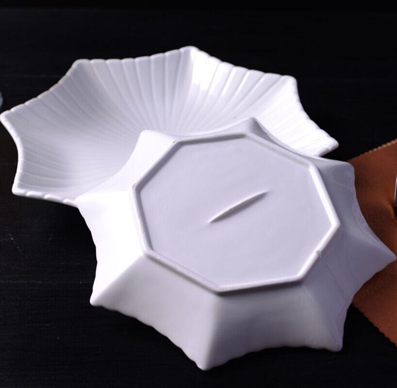 Service de service octogonal en céramique   Assiette à dîner décorative en porcelaine, vaisselle en porcelaine pour pâtisserie, salade et entrée - 4