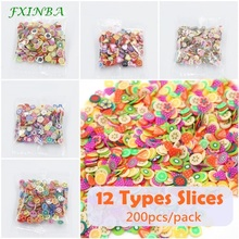FXINBA New 200Pcs/Bag Mini Fimo Fruit Slices For Slime Supplies/Nails Art Tip Polymer Clay Sprinkles Slice Slimes Toys Lizun DIY