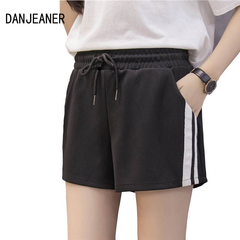 DANJEANER Summer Women Casual Wide Leg   Shorts   Female Fashion Drawstring Elastic Waist Street   Shorts   High Waist   Short   Feminio