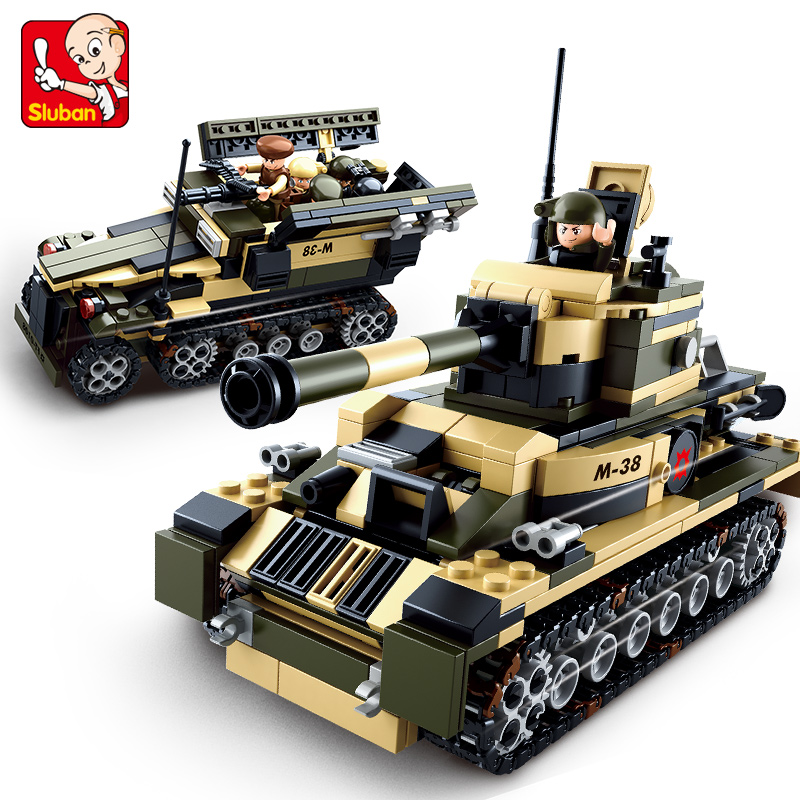 SLUBAN 0587 8 In 1 Military Tank Truck Building Blocks Set 928pcs 3D Educational Block Model Bricks Toys For Children Kid Gift 128pcs military field legion army tank educational bricks kids building blocks toys for boys children enlighten gift k2680 23030