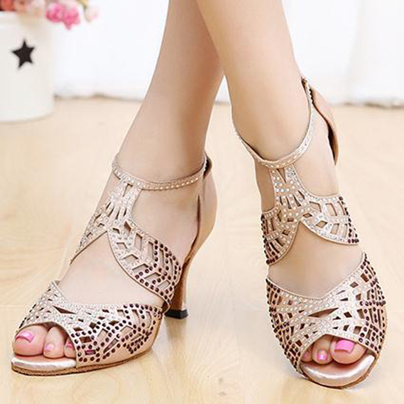 2018 new  Brand  Women's black red Latin dance shoes Party Salsa square shoes latin dancing shoes  6433 цены онлайн