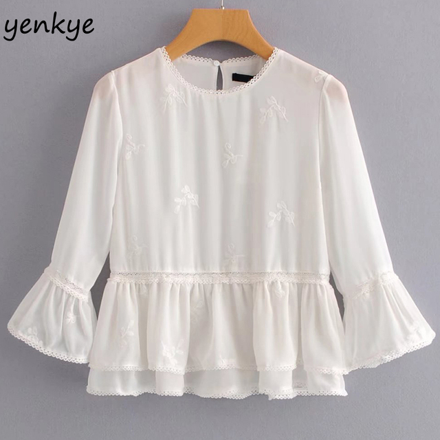 a594d672 Fashion Women Romantic Flowy Top White Blouse O Neck Flare Sleeve Ruffle  Trims Summer Tops brand blusas TLWM7036