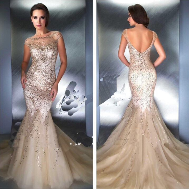 Aliexpress.com : Buy Sequin Gold Prom Dresses Sexy 2014 Mermaid ...