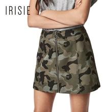 IRISIE Apparel 2017 Summer Camouflage Mini Skirt Casual Zipper Fly Women Bottom Loose Camo Female A-line Skirt Free Shipping