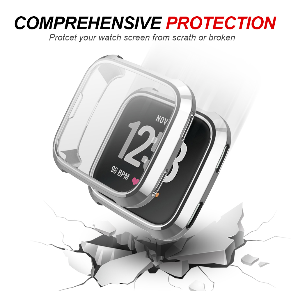 5 Color Soft Plating TPU Case Cover For Fitbit Versa Full Protection Silicone Cases wearable devices Smartwatch Protector in Smart Accessories from Consumer Electronics
