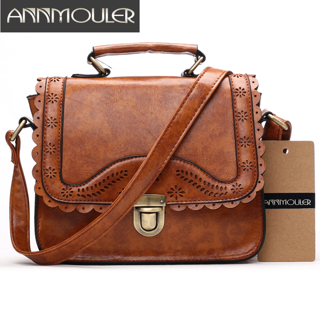 Annmouler Vintage Women Bag Pu Leather Small Handbags Hollow Out Lace Shoulder Messenger Brown Retro