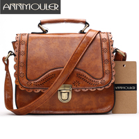Annmouler Vintage Women Bag Pu Leather Small Handbags Hollow Out Lace Shoulder Messenger Bag Brown Retro