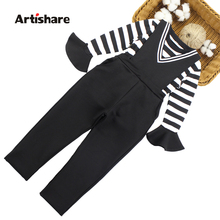 Girls Clothes V Neck Jumpsuit + Striped Shirt 2PCS Costumes For Girls Autumn Winter Children Clothing 6 8 10 12 13 14 Year