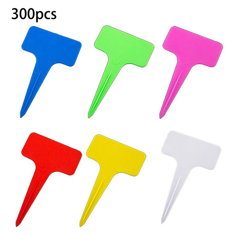 New 300 PCS Plastic Waterproof Plant Nursery Garden Labels T-type Tags Markers Plant Stakes Re-Usable Plant Labels(China)