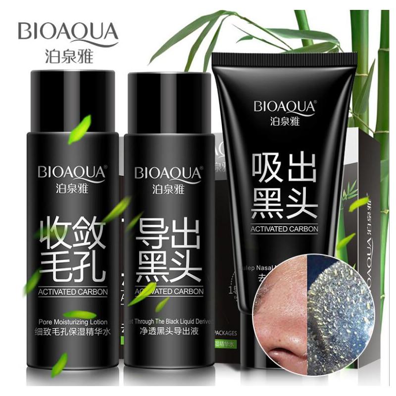 BIOAQUA Blackhead Removal Mask Set Charcoal Nose Skin Care Serum Blackhead Exportation Liquid  Cleansing Mask