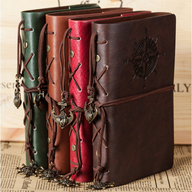 Travelers Handbook Vintage Travel Diary Business Notebook Faux Leather Cover Bound Kraft Papers Journal