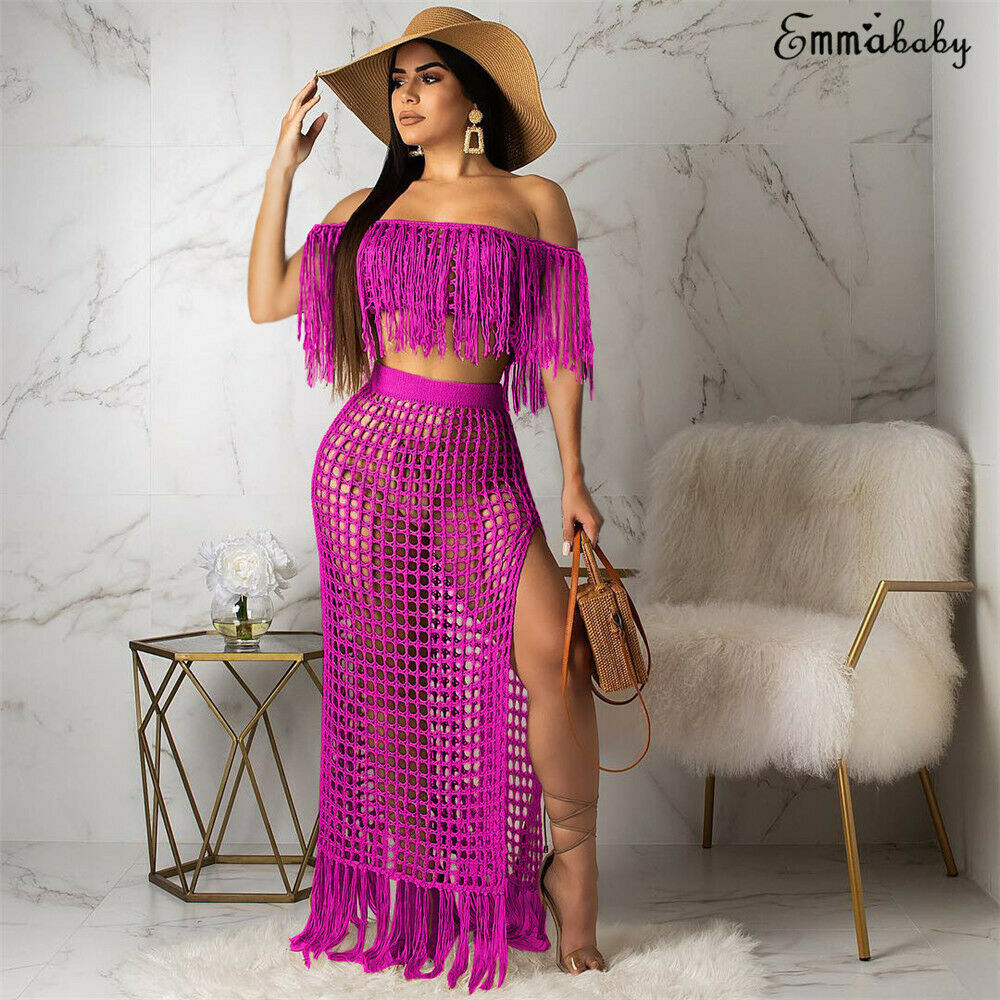 New Sexy Women Summer Two Pieces Half Sleeve Boat Neck Tassel Off Shoulder Side Slit Beach Skirt 2pcs High Wasit Skirt Outfit