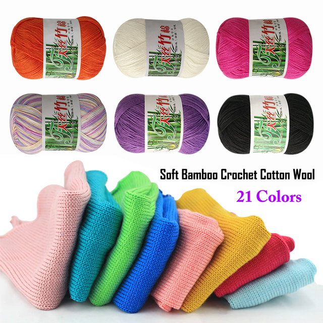 Wituse 4pcs 21 Colors 50g Knitting Crochet Sewing Bamboo Baby Cotton