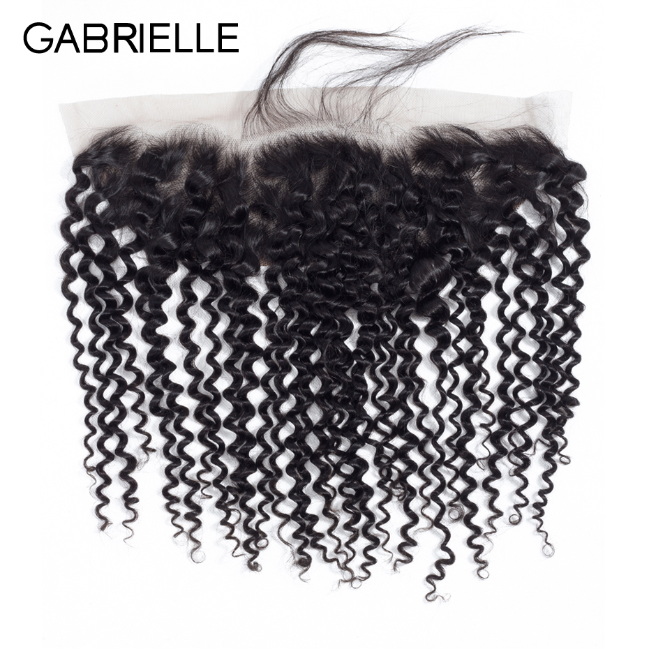 Gabrielle Frontal-Closure Human-Hair Brazilian Lace Curly Kinky 8-22-Inches 13x4 Afro