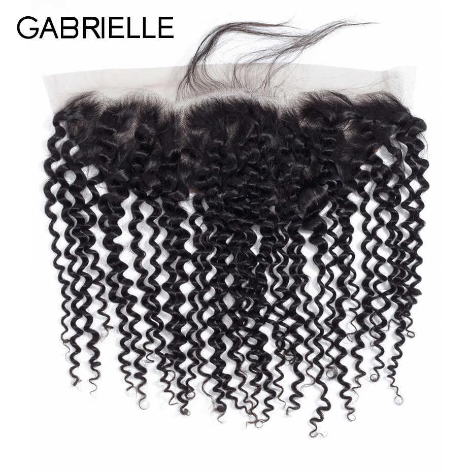 Gabrielle 13x4 синтетический фронтальный закрытие 8-22 дюймов бразильский афро кудрявый 100% не Реми человеческие волосы фронтальный натуральный цвет
