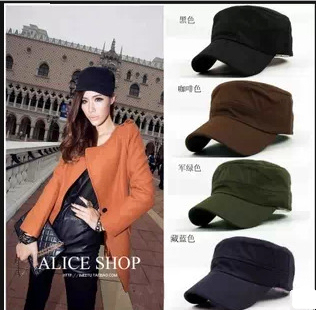 01106b09771 High Quality flat-top korean style women leisure Military Cap Hat multi-colored  custom flat caps for men army supreme hat F420