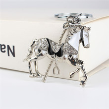 Horse Trojan Pendant Charm Rhinestone Crystal Purse Bag Keyring Key Chain Accessories Wedding Party Holder Keyfob Gift