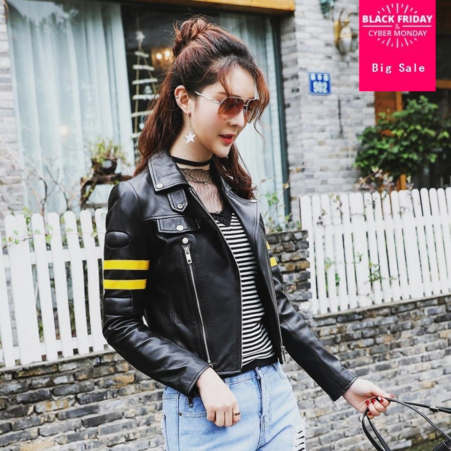 2018 Autumn Womens Fashion PU   leather   Jacket Coat Girls Black Short Zipper Bomber Motorcycle Cool Basic Jacket Outwear L878