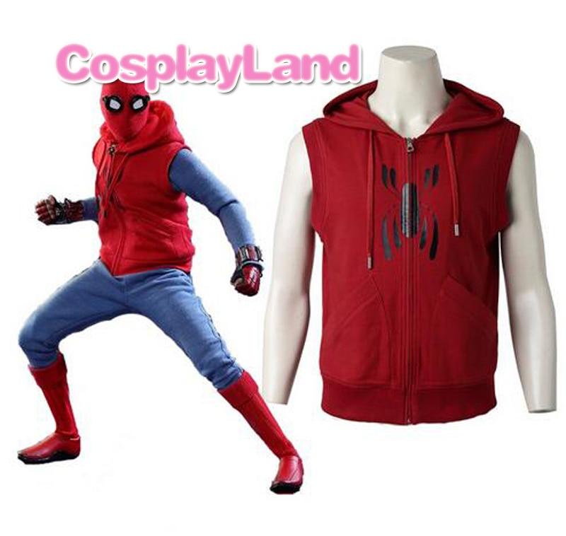 Custom Made Superhero Spiderman Hoodie Casual Red Vest Spider Man Jacket Halloween Spider-Man Homecoming Cosplay Costume