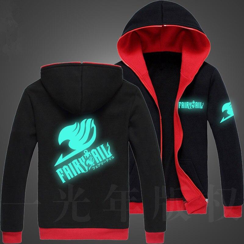Efterår mænd Fairy Tail Glow Hoodie Hooded lynlås Streetwear Hip - Herretøj - Foto 3