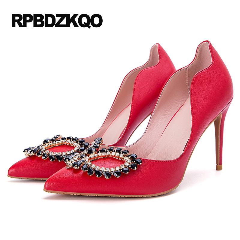 Red Pointed Toe Size 4 34 33 Female Crystal High Heels Shoes Small Ladies Stiletto Rhinestone Prom Diamond 2017 Pumps China pointed toe dress shoes ladies pumps high heels ankle strap footwear 4 34 small size crystal stiletto 2017 7cm 3 inch silver