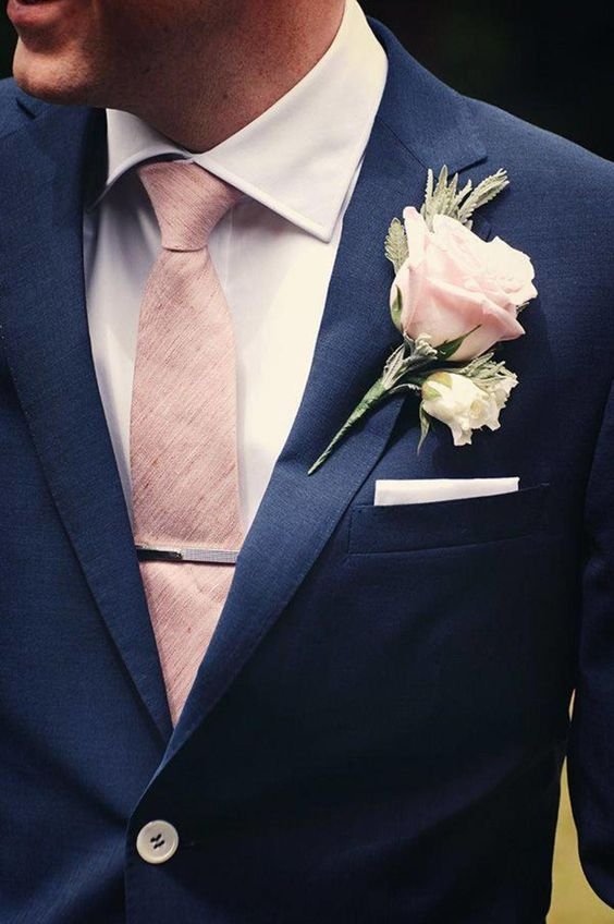 One Button Blue Mens Suits British Style Men Groom Tuxedos Groomsmen Mens Wedding Prom Suits Two Button Blazer(Jacket+Pants+Tie)