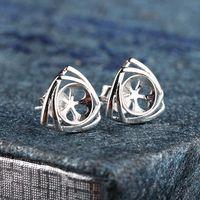 Sterling Silver 925 Pearl Round Bead 8mm Semi Mount Elegant Women Stud Earrings Fine Jewelry Setting