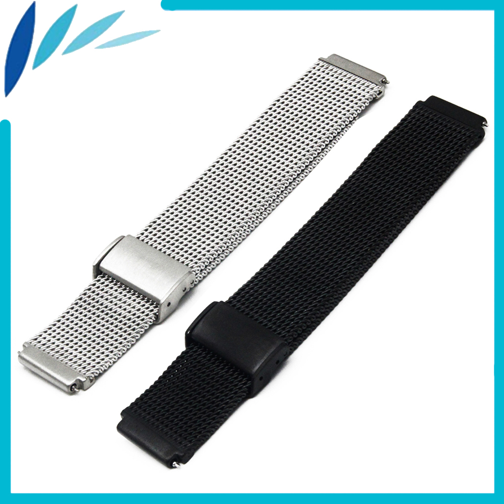 Stainless Steel Watch Band 18mm for Asus Zenwatch 2 Women WI502Q Hook Clasp Strap Quick Release Loop Wrist Belt Bracelet Silver