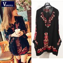 2016 new brand ethnic Women Long Sleeve Vintage mexican Embroidered Floral Boho people Top Tunic Loose Short dress Free shipping