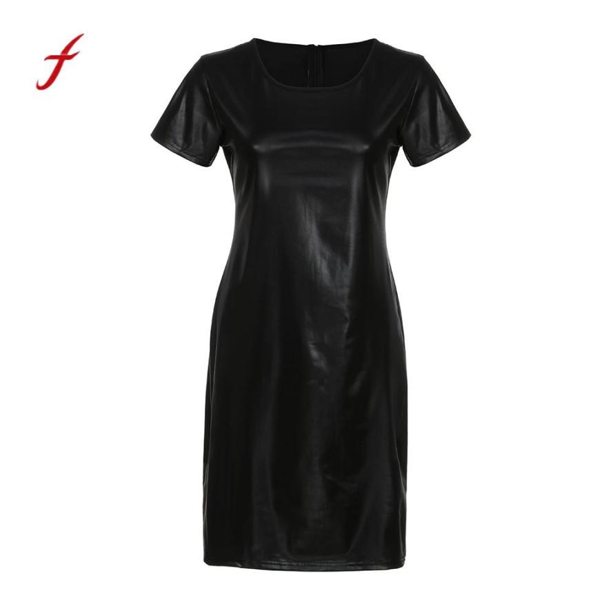 21635f420d4 feitong 2019 Best Selling High Quality Hit Color Women Short Sleeve Wet  Look Faux Leather Bodycon