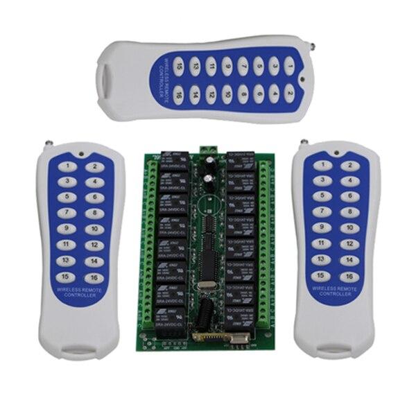 ФОТО 16CH wireless remote control switch RF 3 transmitter+receiver DC24V 7A Remote Control Switch SKU: 5011