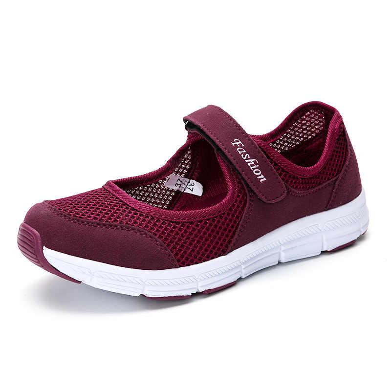 Mulheres da moda Sapatilhas Sapatos Casuais Malha Feminino 2019 Sapatas do Verão Respirável Formadores Senhoras Cesta Femme C372 Tenis Feminino