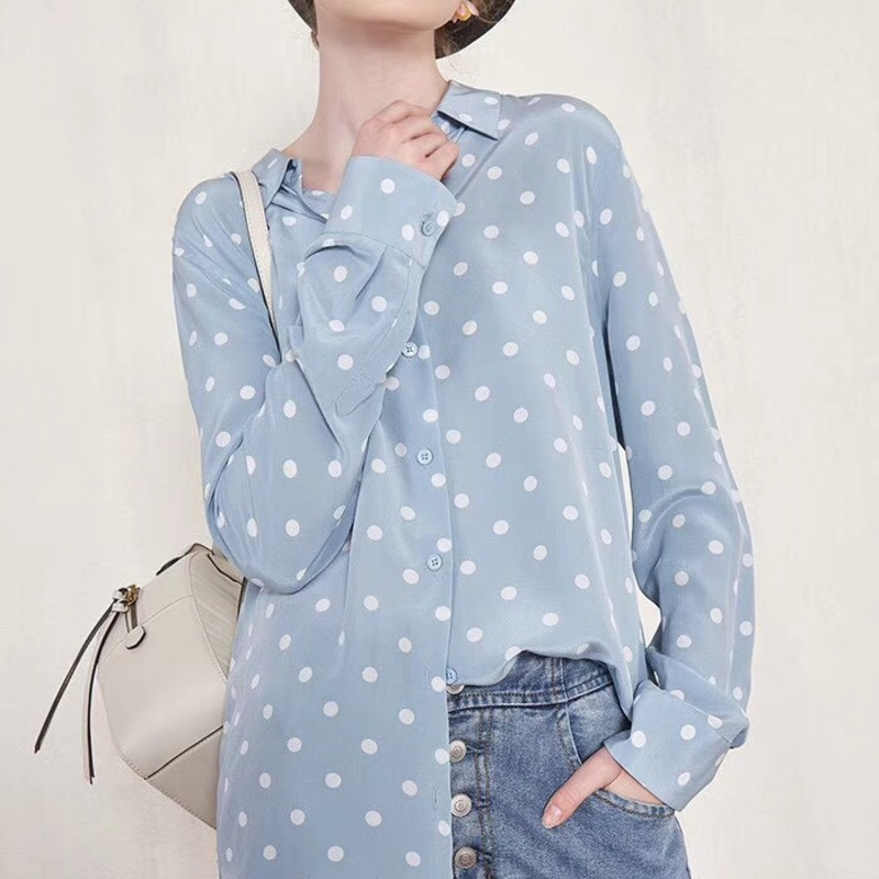 100% Silk Blouse Vintage Dot Print Women Blouses Long Sleeve Turn Down Collar Shirts Office Casual Tops Blusas Chemisier Femme
