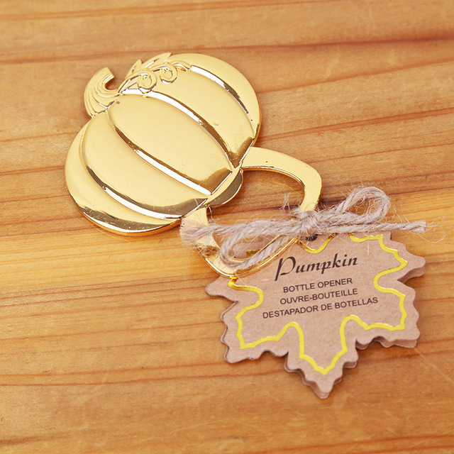 Free shipping 100pcs golden wedding favors gold pumpkin wine bottle free shipping 100pcs golden wedding favors gold pumpkin wine bottle opener beer openers party decoration accessories junglespirit Choice Image
