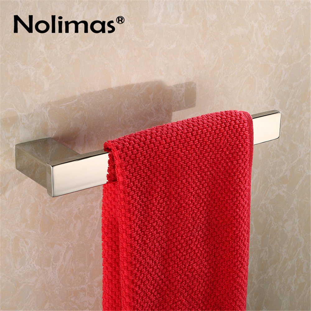 SUS 304 Stainless Steel Towel Single Towel Bar Square Towel Rack Mirror Polished Bathroom Wall Mounted Towel Holder sus304 stainless steel mirror 60cm single towel bar towel rail holder stainless steel construction sm020 water sa