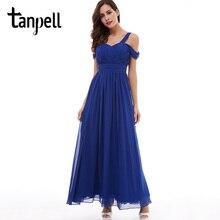 ストラップウエディングドレス格安ダークロイヤルブルー床の長さ Tanpell ラインドレープドレスバックレースアップフォーマルイブニングロングウエディングドレス a