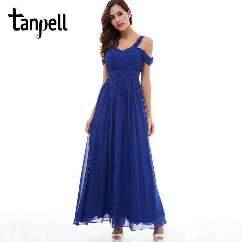 Tanpell banden prom klänning billiga mörk kunglig blå golv längd en linje draperade klänningar tillbaka spets upp formella kvällen långa klänning klänning