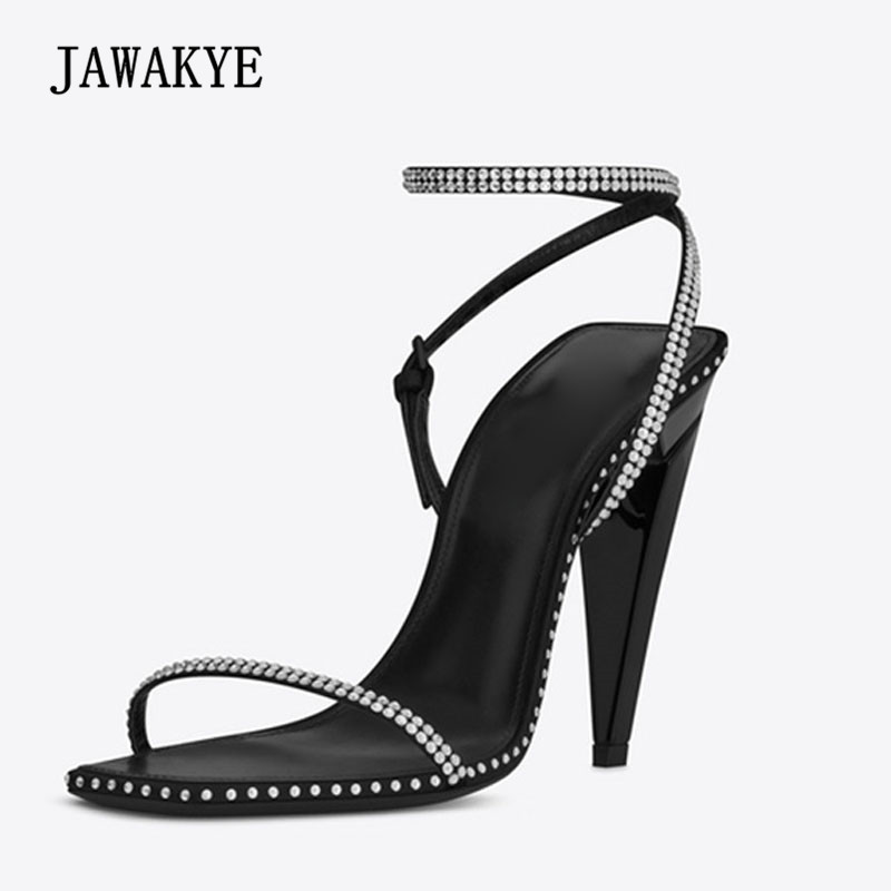 2018 Newest Rhinestone Gladiator Sandals Woman Open Toe Black Real Leather Ankle Strappy Sexy Strange High Heel Shoes Woman цена 2017