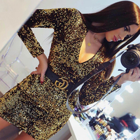 2018 Fashion Nova Plunge V Neck Sequined Gold Long Sleeve Mini Women Dress Elegant Sequined Embellished Dress For Women