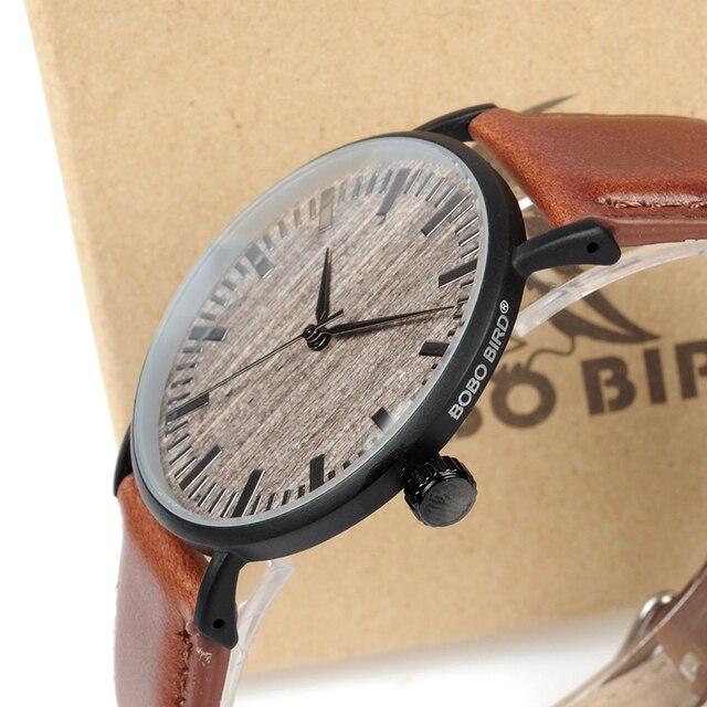 بوبو الطيور ساعة رجالي مع حافظة معدنية خشبية الطلب الوجه لينة حلقة من جلد ساعات كوارتز للرجال النساء ساعة اليد الذكور هبوط السفينة