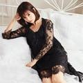 Caliente atractivo de las mujeres ropa de noche de dos piezas de encaje negro camisones para mujer home sling vestido de dormir camisón falda femenina del verano