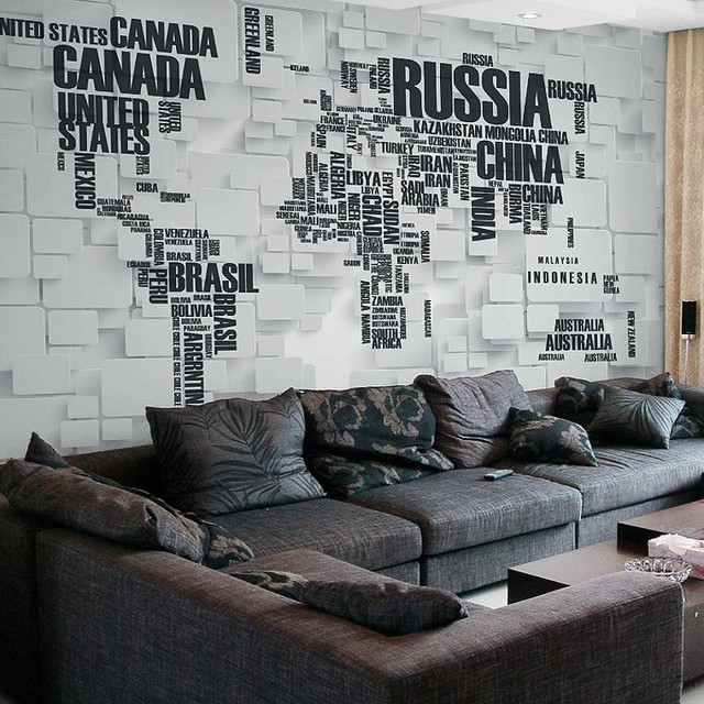 Beibehang Custom Wallpaper 3d Brick Murals Personalized Letters World Map Living Room TV Background Wall