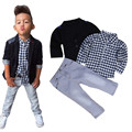Fasshion 2016 toddler boys clothing 3pcs Business Suit+Shirt Tops+Trousers Children Clothes Outfits baby boy kinder ld ourlove