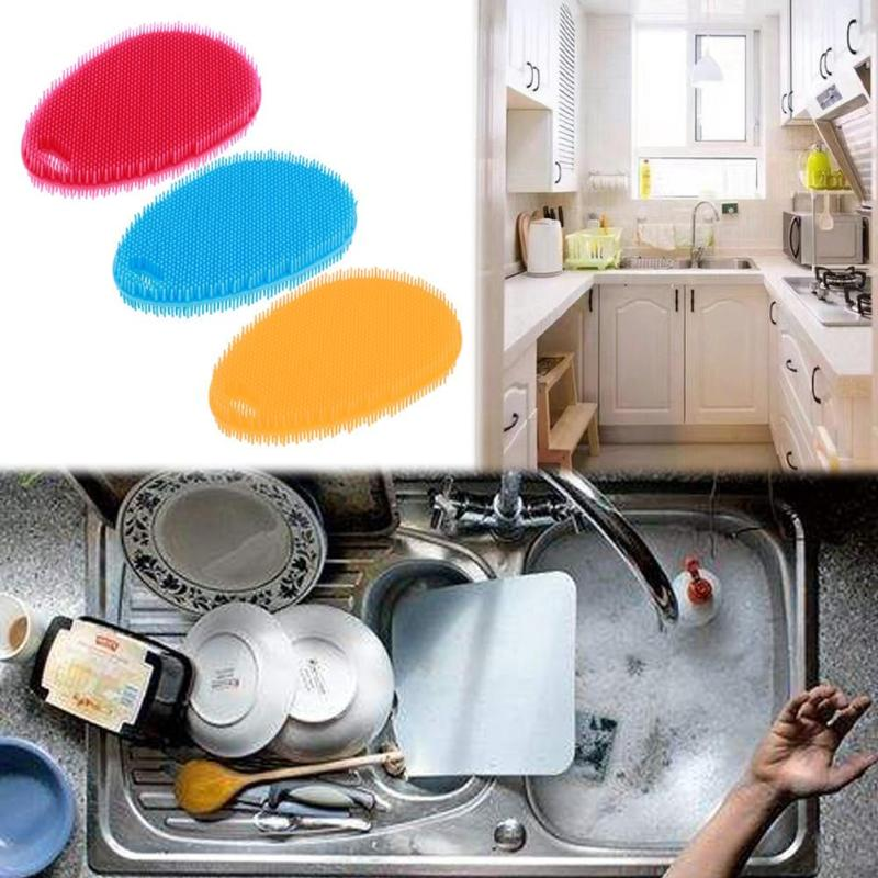 Water Drop Silicone Brush Multi-functional Squeegee Pot Pan Scouring Pad Kitchen Cleaning Tools Dish Bowl Cleaner Brush