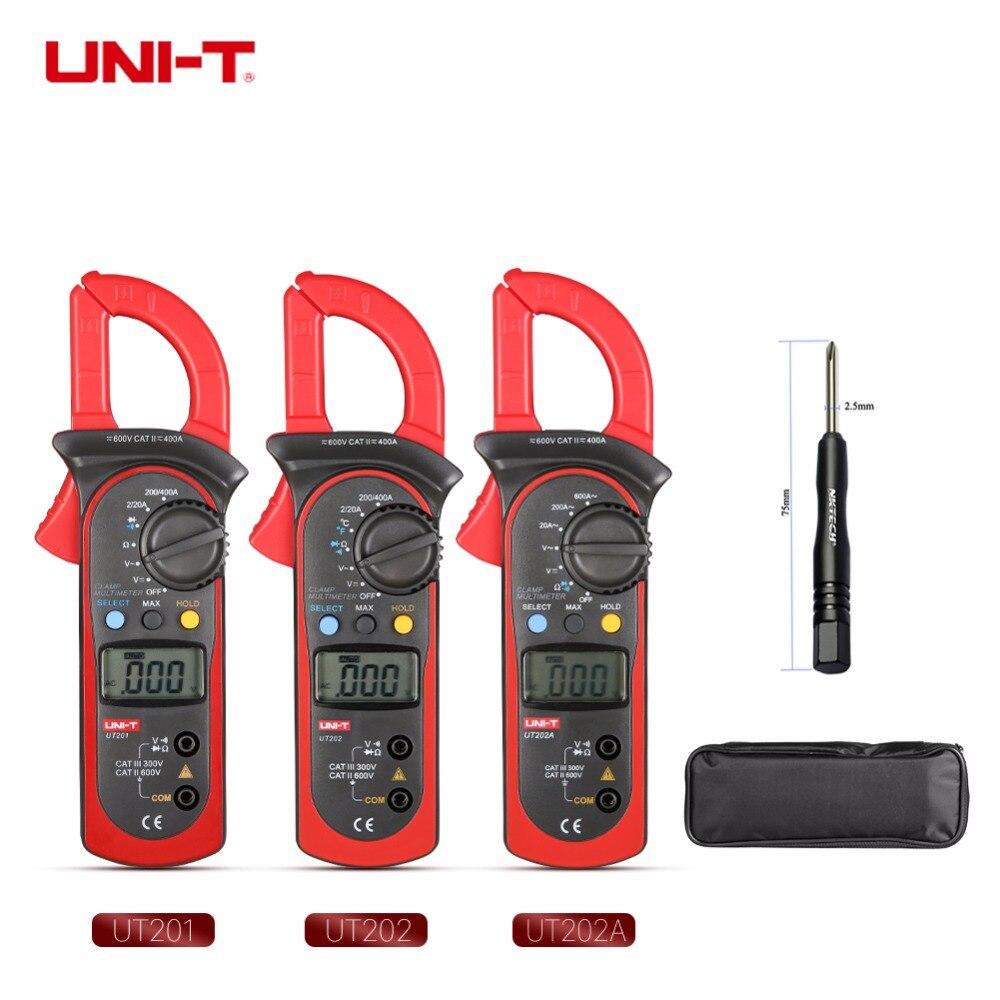UNI-T UT202 Digitale Clamp Multimeter ACV/A DCV Res Temperatur Diode Meter gB0635