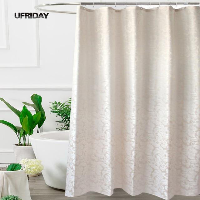 UFRIDAY Waterproof Fabric Shower Curtain Leaves Jacquard Polyester Bathroom Curtains European Elegant Thick Bath